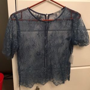 NWT Blue lace top
